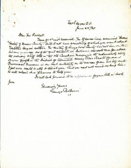 Correspondence between Thomas Head Raddall and George Patterson