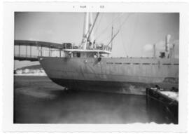 Photograph of an unidentified Pulp Ship at the East River Dock, Sheet Harbour