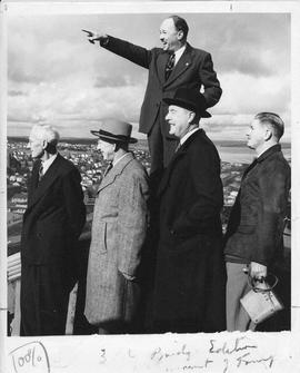 Photograph of Henry Hicks and others on an inspection tour of the Macdonald Bridge
