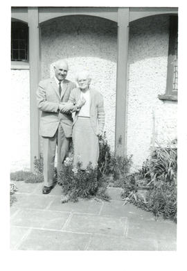 "Photograph of Thomas Head and Aunt Jessie Raddall at her home ""Little Hendra"" in Chorleywood, Her..."