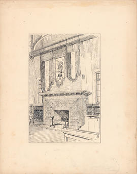 Fireplace in the main reading room of the Macdonald Memorial Library : [drawing]