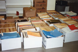 Photograph of boxes of files and binders