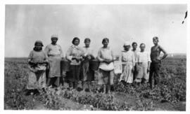 Photograph of workers at the Kuzbas Autonomous Industrial Colony in Kuzbas, Russia