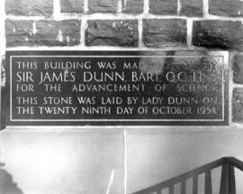 Photograph of the cornerstone of the Sir James Dunn Building
