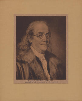 Sketch portrait of Benjamin Franklin (1706-1790) - Reproduction