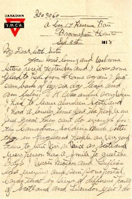 Letter from Weldon Morash to his sister Gertrude dated 5 September 1918