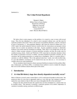 The critial period hypothesis : [draft manuscript]