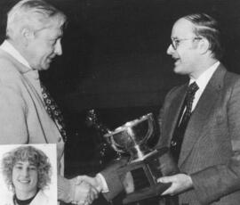 Photograph of Everett Maessen and Dr. Doug Eisner : Class of '55 Award presentation