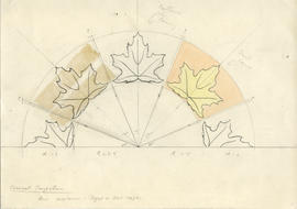 Conical projection drawing of sugar or rock maple leaves carved into the head of the Dalhousie Un...