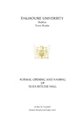 Program for the opening and naming ceremonies of Eliza Ritchie Hall