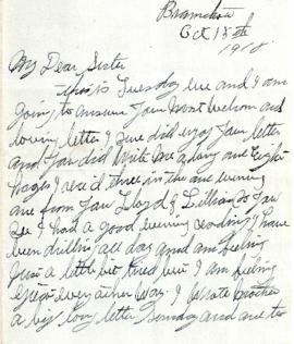 Letter from Weldon Morash to his sister Gertrude dated 15 October 1918
