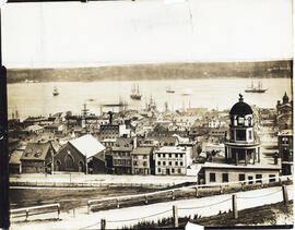 Photograph of a view of downtown Halifax from the Citadel before World War I