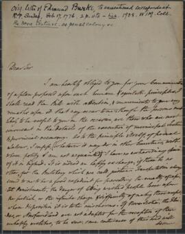 Letter from Edmund Burke to unnamed correspondent