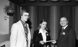 Photograph of Andrea Budgey receiving an alumni scholarship