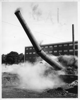 Photograph from the demolition of the heating plant chimney