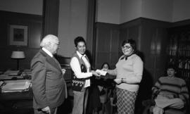 Photograph of a cheque presentation