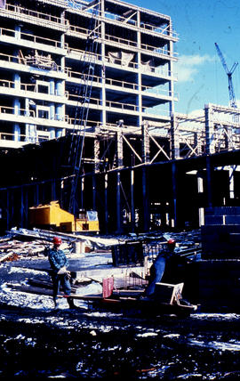 Photograph of construction of the Tupper Building and the Link