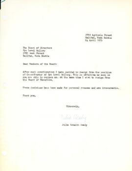 Resignation letter of Julia Schmitt Healy
