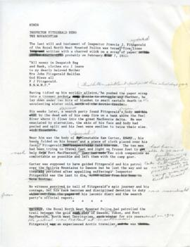Typed notes about Inspector F. J. Fitzgerald