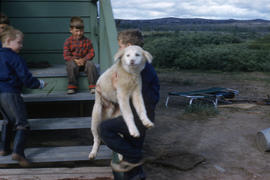Photograph of children playing with a dog in Fort Chimo, Quebec