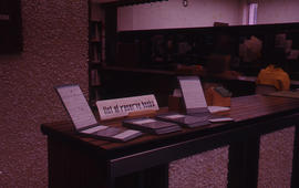 Photograph of the W.K. Kellogg Health Science Library reserve book catalogues