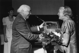 Photograph of Aileen Meagher and Henry D. Hicks : Dalhousie Award presentation