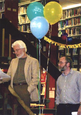 Photograph of of Tim Ruggles and Patrick Ellis at Betty Sutherland's retirement party