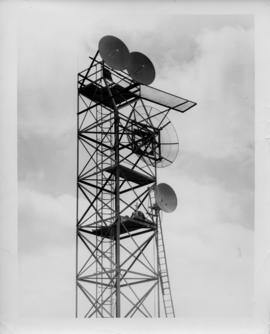 Photograph of the top half of an unidentified radio tower