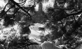 Photograph of the Henry Hicks Academic Administration Building seen through snowy branches