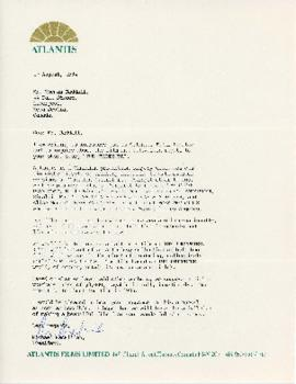 Correspondence between Thomas Head Raddall and Atlantis Films