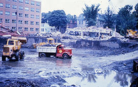 Photograph of the construction of the Tupper Building, clearing the site