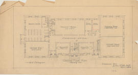 Technical drawing of the ground floor plan of a Dalhousie arts building