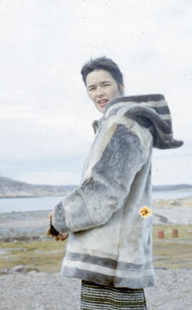 Photograph of Mrs. Houston in a sealskin parka