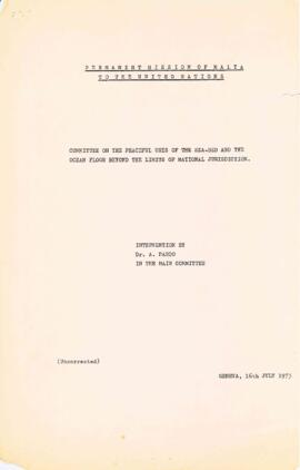 Committee on the Peaceful Uses of the Sea-bed and the Ocean Floor Beyond the Limits of National J...