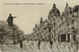 Postcard of His Majesty's Theatre and Wallace Statue, Aberdeen