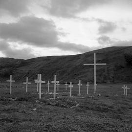Photograph of a Christian Inuit graveyard in Wakeham Bay, Quebec