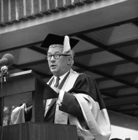 Photograph of Henry Hicks speaking at the Dalhousie medical centennial convocation ceremony