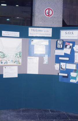 Photograph of an information display at the Killam Memorial Library, Dalhousie University