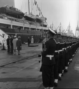 Photograph of naval cadets greeting the Queen Mother