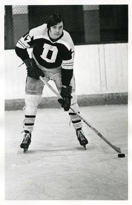 Photograph of unidentified member of the Dalhousie University hockey team