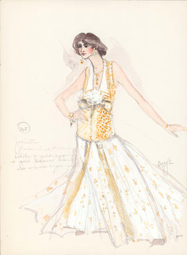 Costume design for Juliette in evening dress