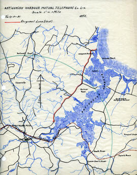 Maps of Antigonish Harbour Mutual Telephone Company's telephone line