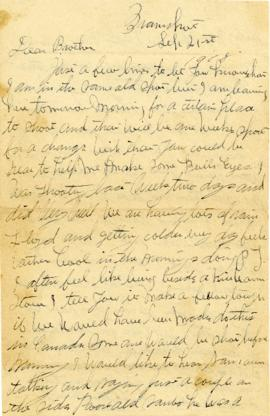 Letter to his brother Lloyd dated September 21, 1918