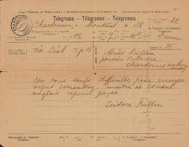 Telegram from Isidore Ballon to Ellen Ballon
