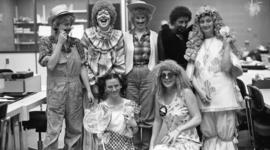 Photograph of circulation staff in costume
