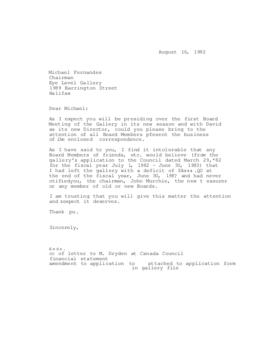 Letter from Marina Stewart to Michael Fernandes