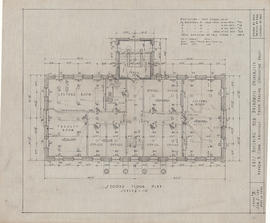 Technical drawing of the second floor plan of an arts building for Dalhousie University