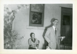Photograph of Dr. Kirkconnell of Acadia University making an address at the unveiling of the Mars...