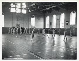 Studley Gymnasium - interior (women's exercise class?)