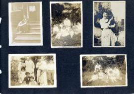 Scrapbook page with photographs of a family and children, a woman and her cat, and a group of boy...
